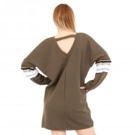 Χακί Μπλουζοφόρεμα με Σχέδιο στο Μανίκι
