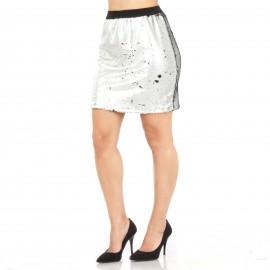 Ασημένια Mini Φούστα με Παγιέτες