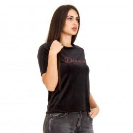 Μαύρο Βελούδινο T-Shirt με Γράμματα ''DREAM''