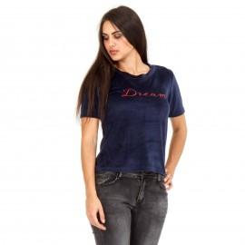 Μπλε Βελούδινο T-Shirt με Γράμματα ''DREAM''