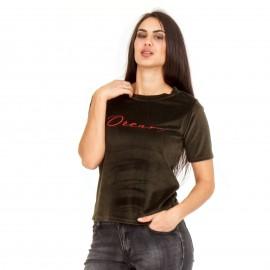 Χακί Βελούδινο T-Shirt με Γράμματα ''DREAM''