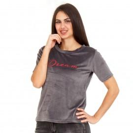 Γκρι Βελούδινο T-Shirt με Γράμματα ''DREAM''
