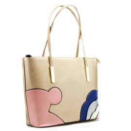 Χρυσή Τετράγωνη Τσάντα Ώμου με Σχέδια