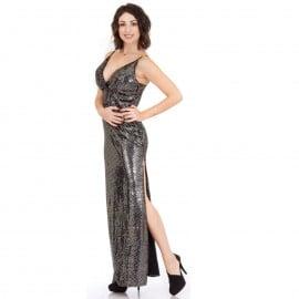 Μαύρο Maxi Φόρεμα με Άνοιγμα στο Πλάϊ