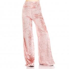 Ροζ Βελούδινη Παντελόνα με Κουμπιά