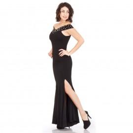 Μαύρο Maxi Φόρεμα με Πέρλες και Σκίσιμο
