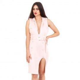 Nude Midi Φόρεμα με Κουμπιά και Σκίσιμο στο Πλάι