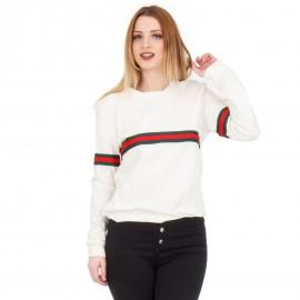 Λευκή Μακρυμάνικη Μπλούζα με Ρίγα