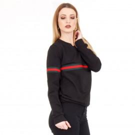 Μαύρη Μακρυμάνικη Μπλούζα με Ρίγα
