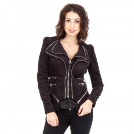 Μαύρο Σουέτ Biker Jacket