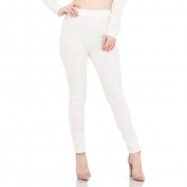 Λευκό Παντελόνι με Χιαστί Σχέδιο