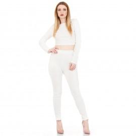 Σετ Λευκό Παντελόνι και Crop Top