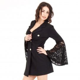 Μαύρο Μini Φόρεμα με Δαντέλα στα Μανίκια
