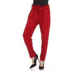 Κόκκινο Παντελόνι με Ρίγα στο Πλάι και Ζωνάκι