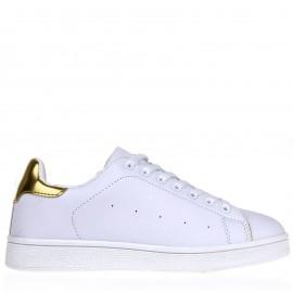 Λευκά Sneakers με Χρυσή Λεπτομέρεια