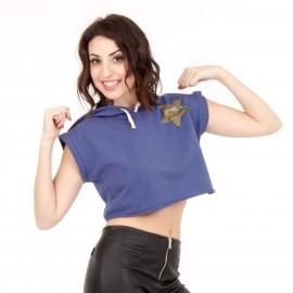 Μπλε Κοντομάνικο Μπλουζάκι με Κουκούλα