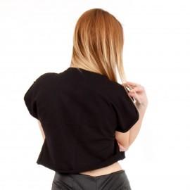 Μαύρο Κοντομάνικο Μπλουζάκι με Στάμπα