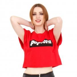 Κόκκινο Κοντομάνικο Μπλουζάκι με Στάμπα