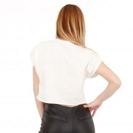 Λευκό Κοντομάνικο Μπλουζάκι με Στάμπα