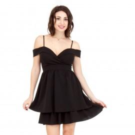 Μαύρο Mini Off Shoulder Φόρεμα με Βολάν