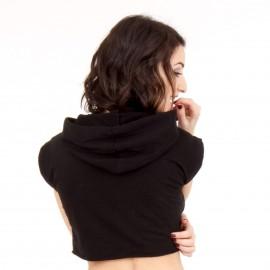 Μαύρο Κοντομάνικο Μπλουζάκι με Κουκούλα και Στάμπα