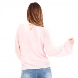 Ρόζ Μακρυμάνικη Μπλούζα με Φιόγκο