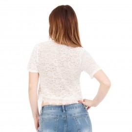 Λευκό - Ρόζ Κοντομάνικο Crop Top με Δαντέλα και Πέρλες