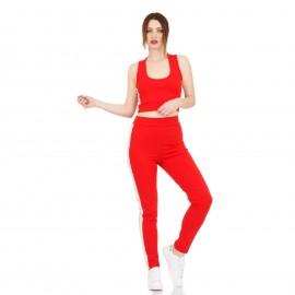 Κόκκινη Φόρμα Σετ με Ρίγα