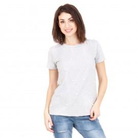 Γκρι Κοντομάνικη Μπλούζα με Πέρλες