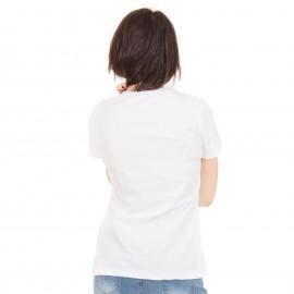 Λευκή Κοντομάνικη Μπλούζα με Πέρλες