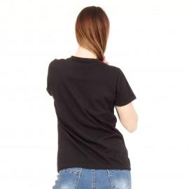 Μαύρη Κοντομάνικη Μπλούζα με Πέρλες