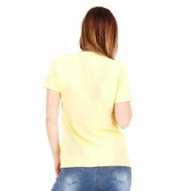 Κίτρινη Κοντομάνικη Μπλούζα με Πέρλες