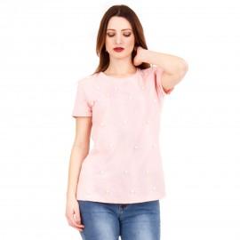 Ρόζ Κοντομάνικη Μπλούζα με Πέρλες