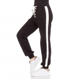 Μαύρο Παντελόνι Φόρμα με Λευκή Ρίγα