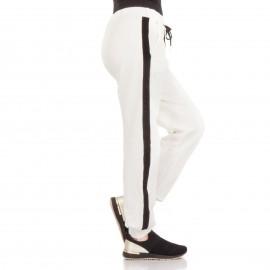 Λευκό Παντελόνι Φόρμα με Μαύρη Ρίγα