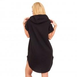 Μαύρο Μπλουζοφόρεμα με Κουκούλα