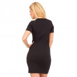 Μαύρο Κοντομάνικο Mini Φόρεμα με Στάμπα