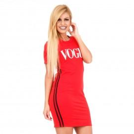 Κόκκινο Κοντομάνικο Mini Φόρεμα με Στάμπα