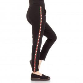 Μαύρο Παντελόνι Φόρμα με Πέρλες