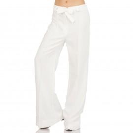 Λευκή Παντελόνα Καμπάνα με Ζωνάκι