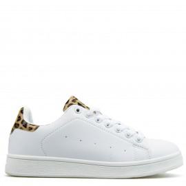 Λευκά Sneakers με Λεοπάρ Λεπτομέρεια
