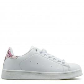 Λευκά Sneakers με Φλοράλ Λεπτομέρεια