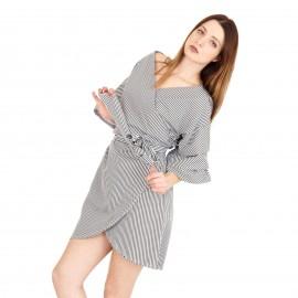 Καρό Mini Φόρεμα με Βολάν
