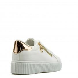 Λευκά Sneakers με Φερμουάρ και Χάλκινη Λεπτομέρεια