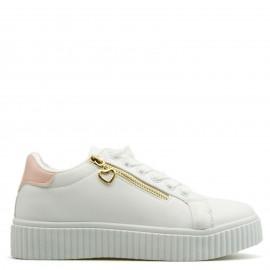 Λευκά Sneakers με Φερμουάρ και Ροζ Λεπτομέρεια