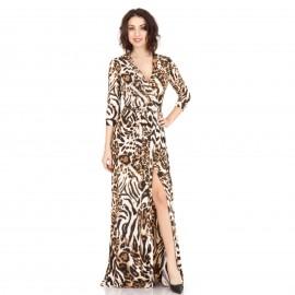 Λεοπάρ Maxi Φόρεμα με Άνοιγμα στο Πλάϊ