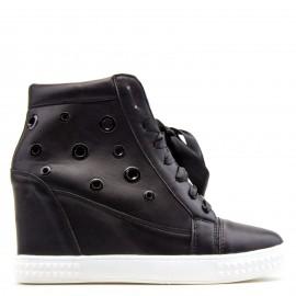 Μαύρα Wedge Sneakers με Σατέν Κορδόνια