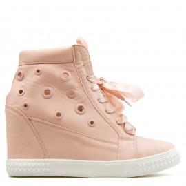 Ροζ Wedge Sneakers με Σατέν Κορδόνια