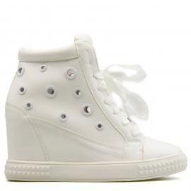 Λευκά Wedge Sneakers με Κορδόνια Σατέν
