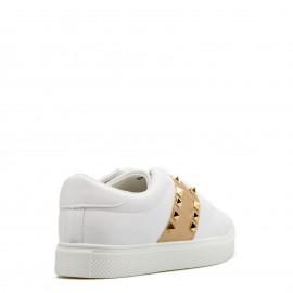 Λευκά Sneakers με Χρυσή Λεπτομέρεια και Τρουκς